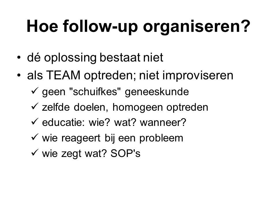 Hoe follow-up organiseren? dé oplossing bestaat niet als TEAM optreden; niet improviseren geen