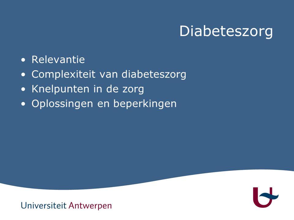 Diabeteszorg Relevantie Complexiteit van diabeteszorg Knelpunten in de zorg Oplossingen en beperkingen