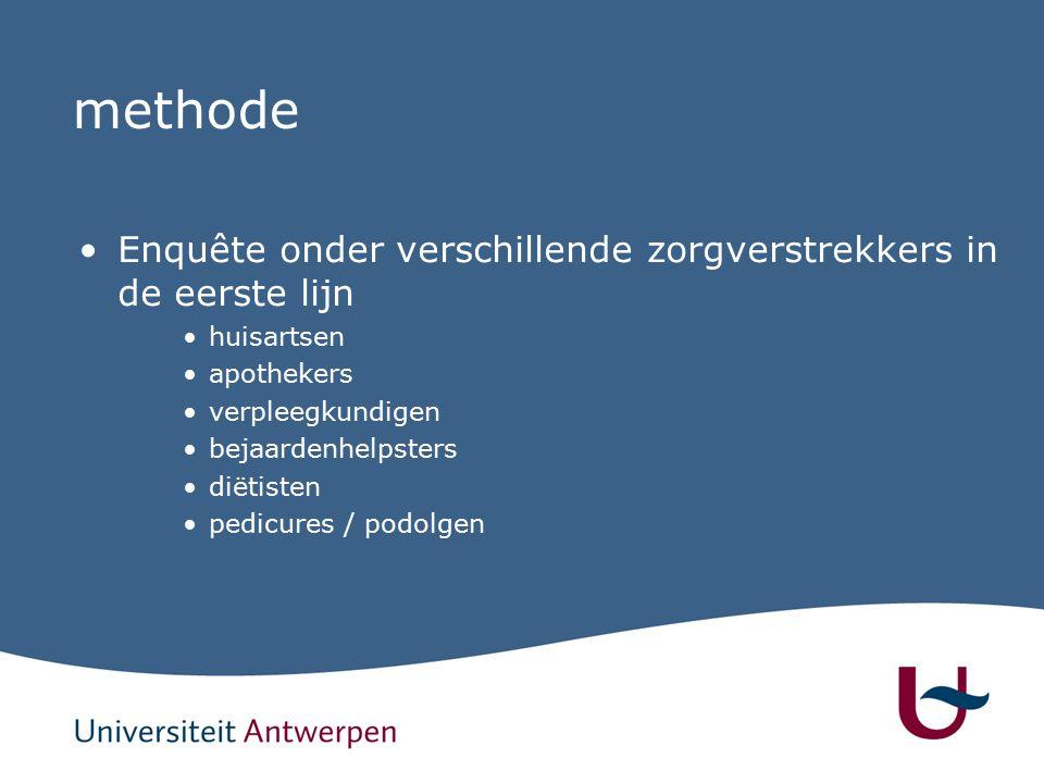 methode Enquête onder verschillende zorgverstrekkers in de eerste lijn huisartsen apothekers verpleegkundigen bejaardenhelpsters diëtisten pedicures / podolgen