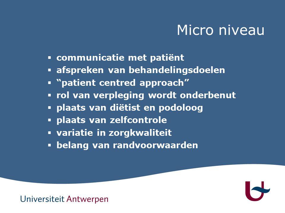 Micro niveau  communicatie met patiënt  afspreken van behandelingsdoelen  patient centred approach  rol van verpleging wordt onderbenut  plaats van diëtist en podoloog  plaats van zelfcontrole  variatie in zorgkwaliteit  belang van randvoorwaarden