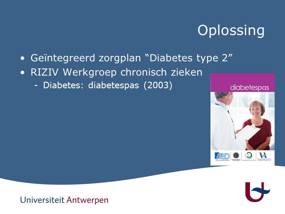 Oplossing Geïntegreerd zorgplan Diabetes type 2 RIZIV Werkgroep chronisch zieken -Diabetes: diabetespas (2003)