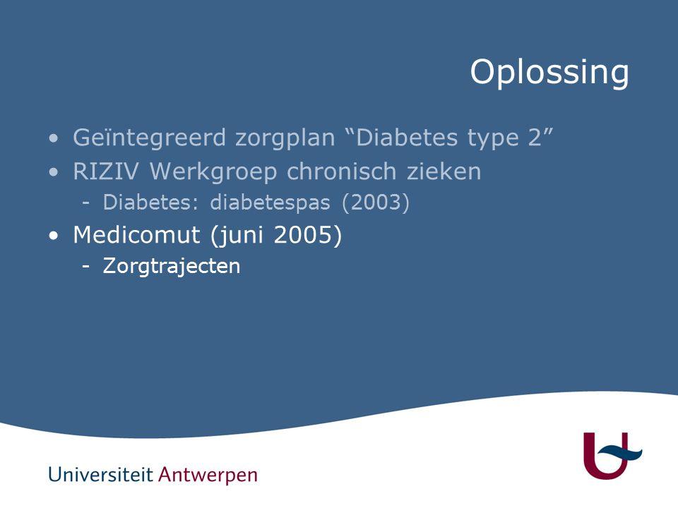 Oplossing Geïntegreerd zorgplan Diabetes type 2 RIZIV Werkgroep chronisch zieken -Diabetes: diabetespas (2003) Medicomut (juni 2005) -Zorgtrajecten