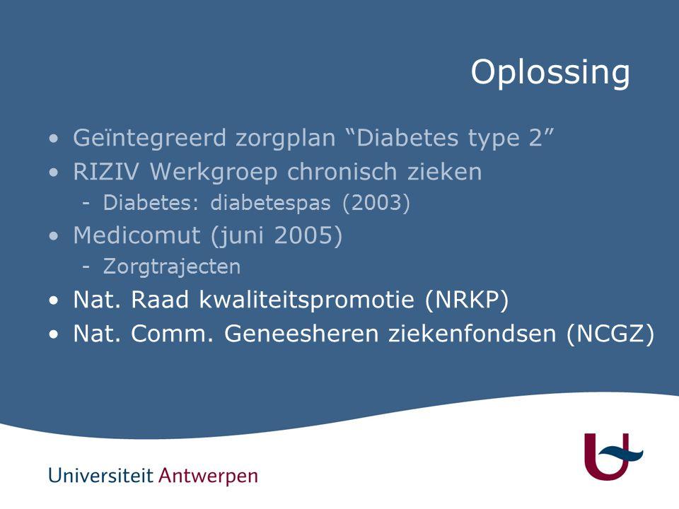 Oplossing Geïntegreerd zorgplan Diabetes type 2 RIZIV Werkgroep chronisch zieken -Diabetes: diabetespas (2003) Medicomut (juni 2005) -Zorgtrajecten Nat.