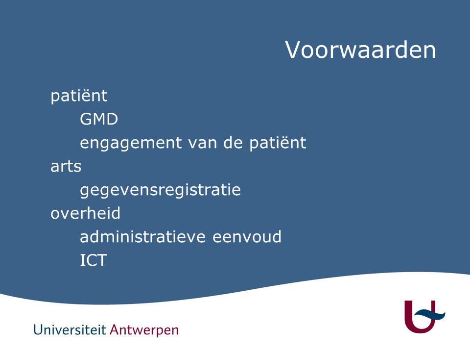 Voorwaarden patiënt GMD engagement van de patiënt arts gegevensregistratie overheid administratieve eenvoud ICT