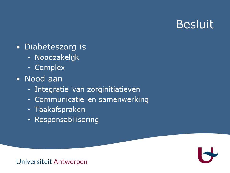 Besluit Diabeteszorg is -Noodzakelijk -Complex Nood aan -Integratie van zorginitiatieven -Communicatie en samenwerking -Taakafspraken -Responsabilisering