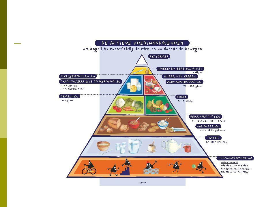  drink voldoende  eet dagelijks 2-3 stukken fruit en 1-2 porties groenten  eet min 1 maal per week vis