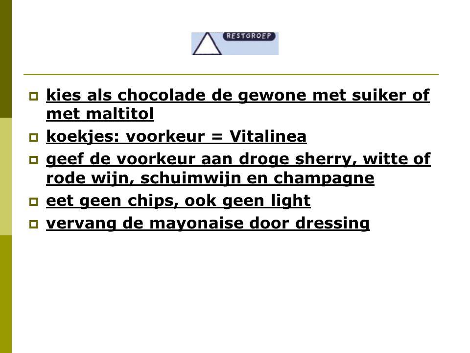  kies als chocolade de gewone met suiker of met maltitol  koekjes: voorkeur = Vitalinea  geef de voorkeur aan droge sherry, witte of rode wijn, sch