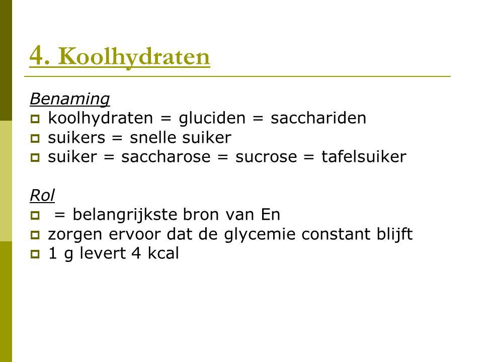 4. Koolhydraten Benaming  koolhydraten = gluciden = sacchariden  suikers = snelle suiker  suiker = saccharose = sucrose = tafelsuiker Rol  = belan