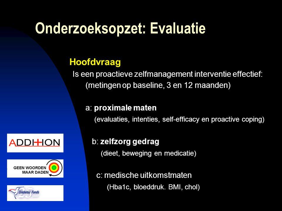 Onderzoeksopzet: Evaluatie Hoofdvraag Is een proactieve zelfmanagement interventie effectief: (metingen op baseline, 3 en 12 maanden) a: proximale mat