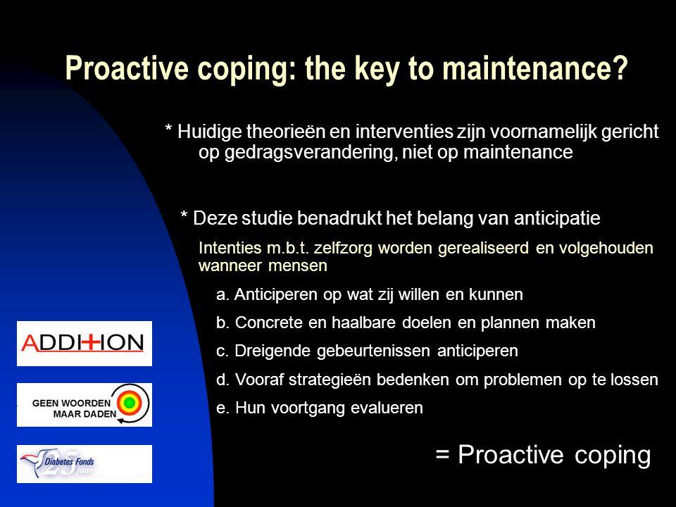 Proactive coping: the key to maintenance? * Huidige theorieën en interventies zijn voornamelijk gericht op gedragsverandering, niet op maintenance * D