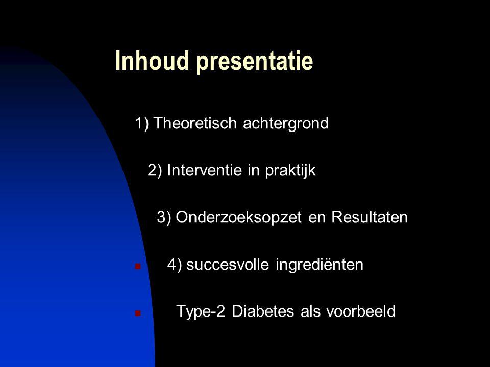 Inhoud presentatie 1) Theoretisch achtergrond 2) Interventie in praktijk 3) Onderzoeksopzet en Resultaten 4) succesvolle ingrediënten Type-2 Diabetes