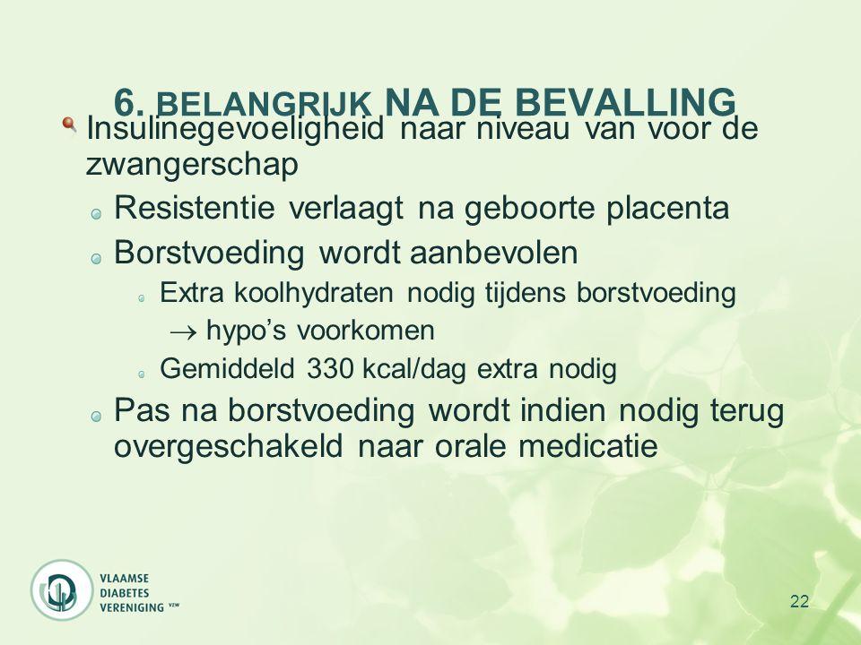 22 6. BELANGRIJK NA DE BEVALLING Insulinegevoeligheid naar niveau van voor de zwangerschap Resistentie verlaagt na geboorte placenta Borstvoeding word