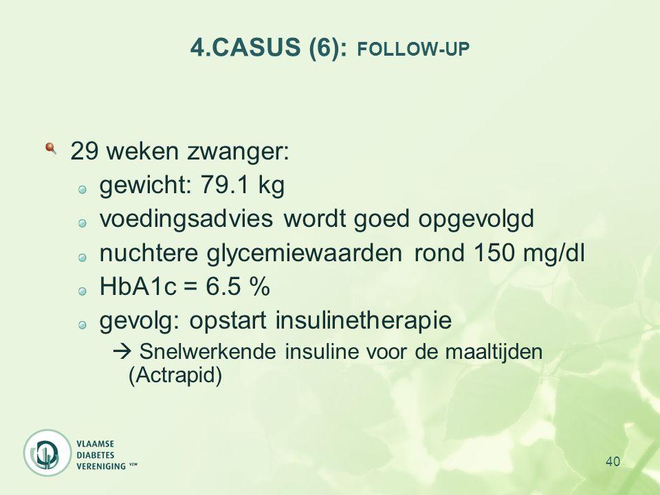40 4.CASUS (6): FOLLOW-UP 29 weken zwanger: gewicht: 79.1 kg voedingsadvies wordt goed opgevolgd nuchtere glycemiewaarden rond 150 mg/dl HbA1c = 6.5 %
