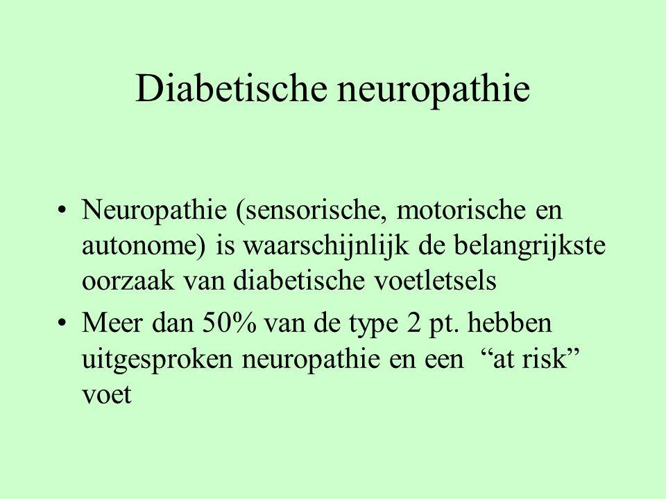 Diabetische neuropathie Neuropathie (sensorische, motorische en autonome) is waarschijnlijk de belangrijkste oorzaak van diabetische voetletsels Meer