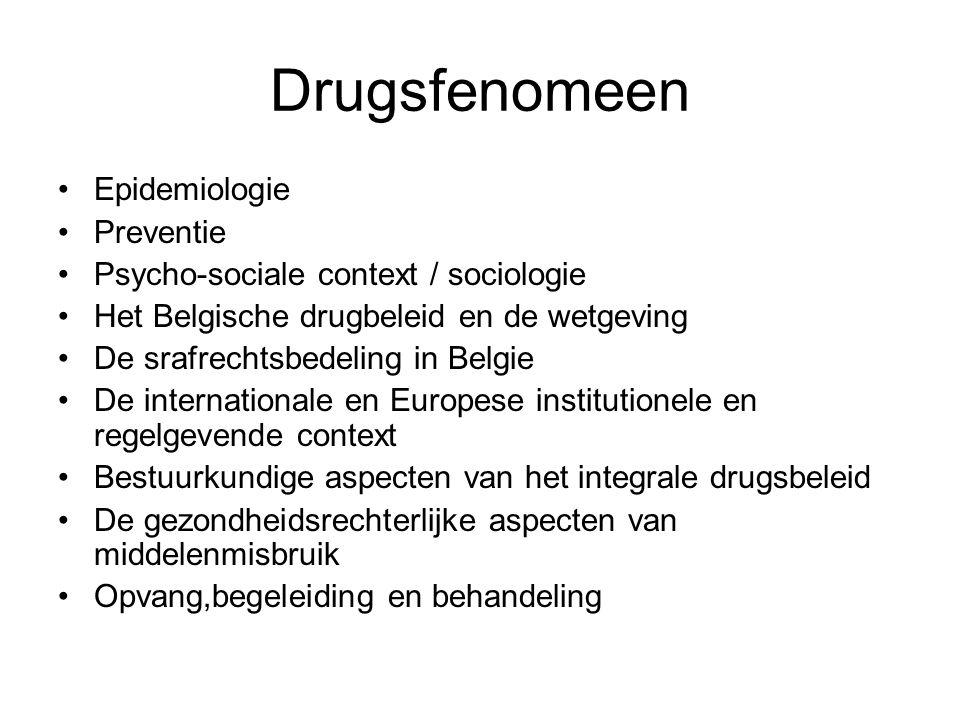 Drugsfenomeen Epidemiologie Preventie Psycho-sociale context / sociologie Het Belgische drugbeleid en de wetgeving De srafrechtsbedeling in Belgie De