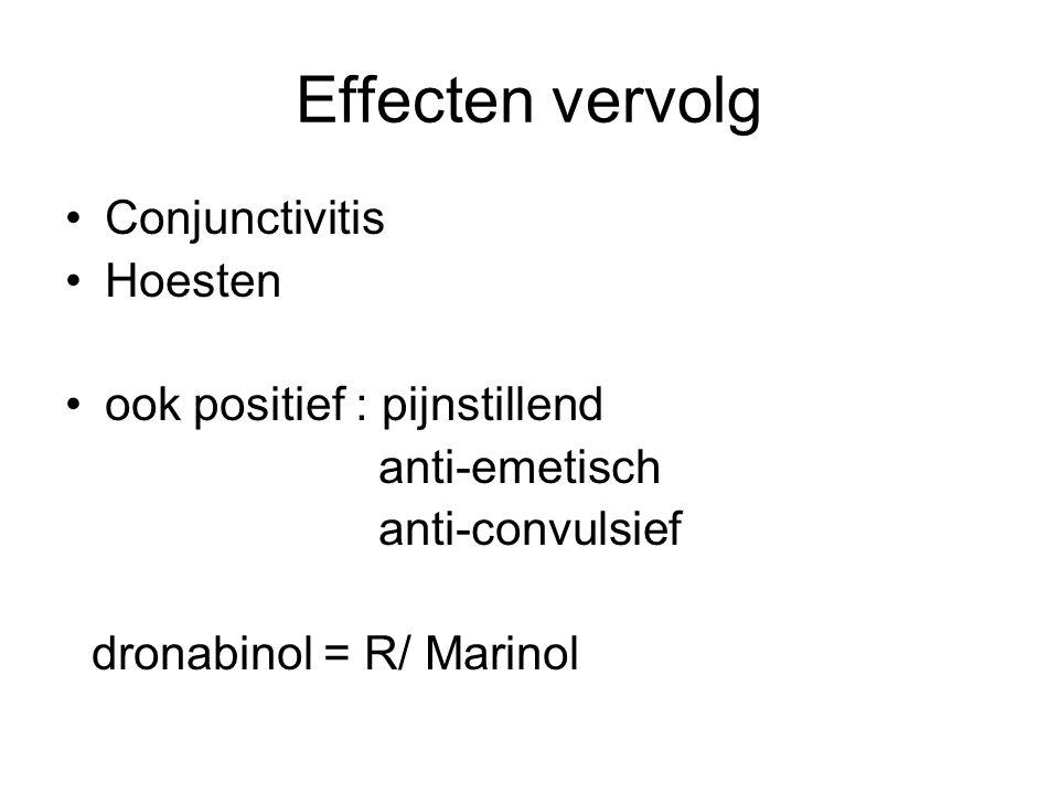 Effecten vervolg Conjunctivitis Hoesten ook positief : pijnstillend anti-emetisch anti-convulsief dronabinol = R/ Marinol