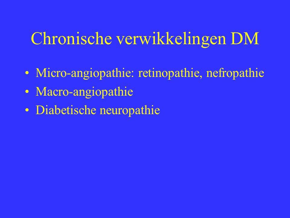 Chronische verwikkelingen DM Micro-angiopathie: retinopathie, nefropathie Macro-angiopathie Diabetische neuropathie