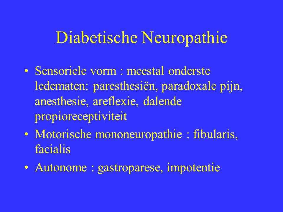 Diabetische Neuropathie Sensoriele vorm : meestal onderste ledematen: paresthesiën, paradoxale pijn, anesthesie, areflexie, dalende propioreceptiviteit Motorische mononeuropathie : fibularis, facialis Autonome : gastroparese, impotentie