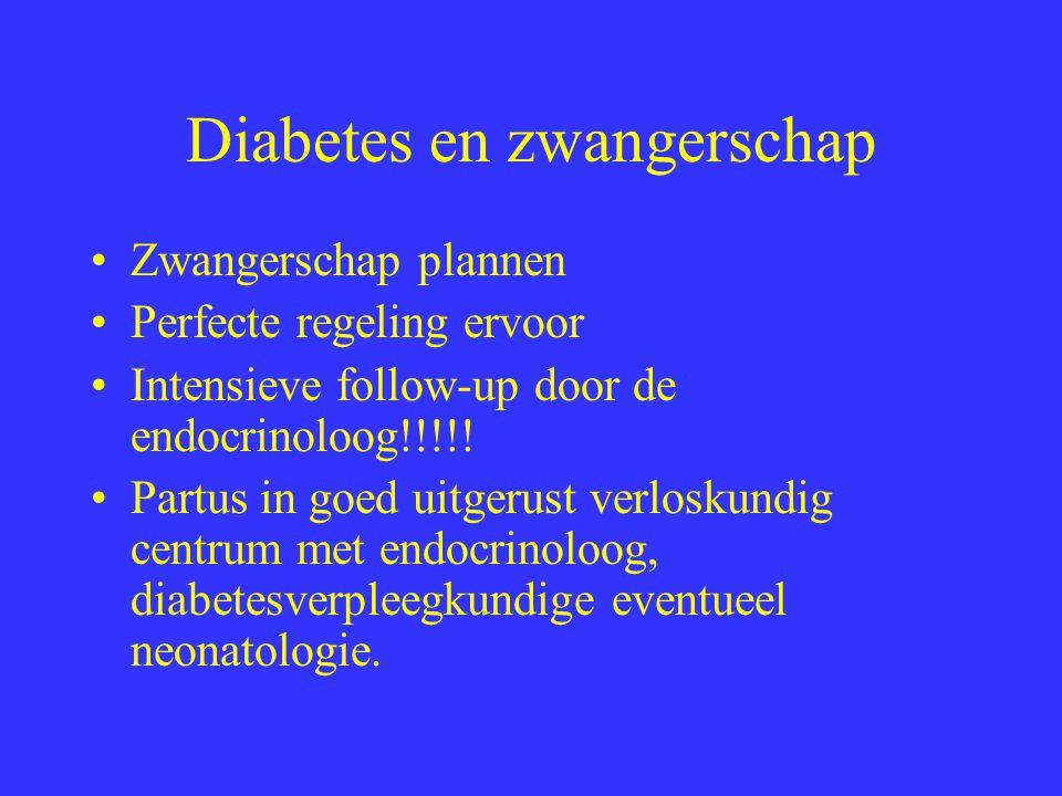 Diabetes en zwangerschap Zwangerschap plannen Perfecte regeling ervoor Intensieve follow-up door de endocrinoloog!!!!.