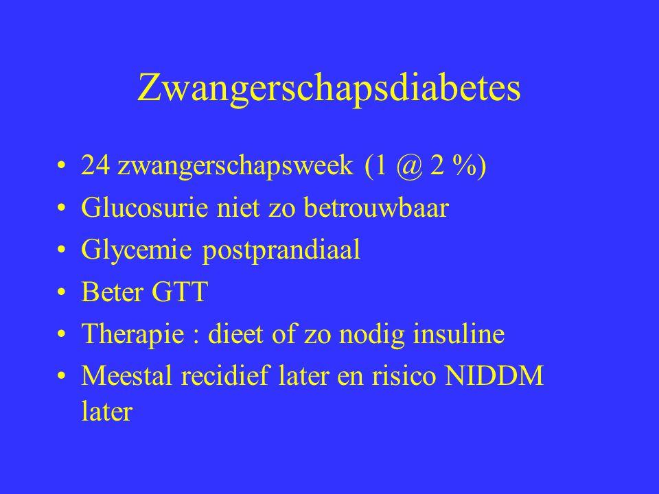 Zwangerschapsdiabetes 24 zwangerschapsweek (1 @ 2 %) Glucosurie niet zo betrouwbaar Glycemie postprandiaal Beter GTT Therapie : dieet of zo nodig insuline Meestal recidief later en risico NIDDM later