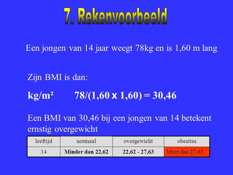Een jongen van 14 jaar weegt 78kg en is 1,60 m lang Zijn BMI is dan: kg/m²78/(1,60 x 1,60) = 30,46 Een BMI van 30,46 bij een jongen van 14 betekent er