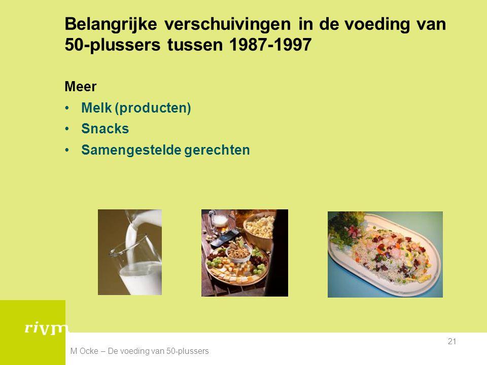 M Ocke – De voeding van 50-plussers 21 Belangrijke verschuivingen in de voeding van 50-plussers tussen 1987-1997 Meer Melk (producten) Snacks Samenges