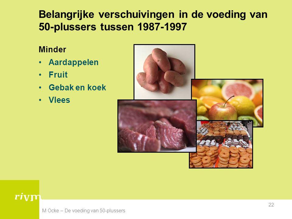 M Ocke – De voeding van 50-plussers 22 Belangrijke verschuivingen in de voeding van 50-plussers tussen 1987-1997 Minder Aardappelen Fruit Gebak en koe