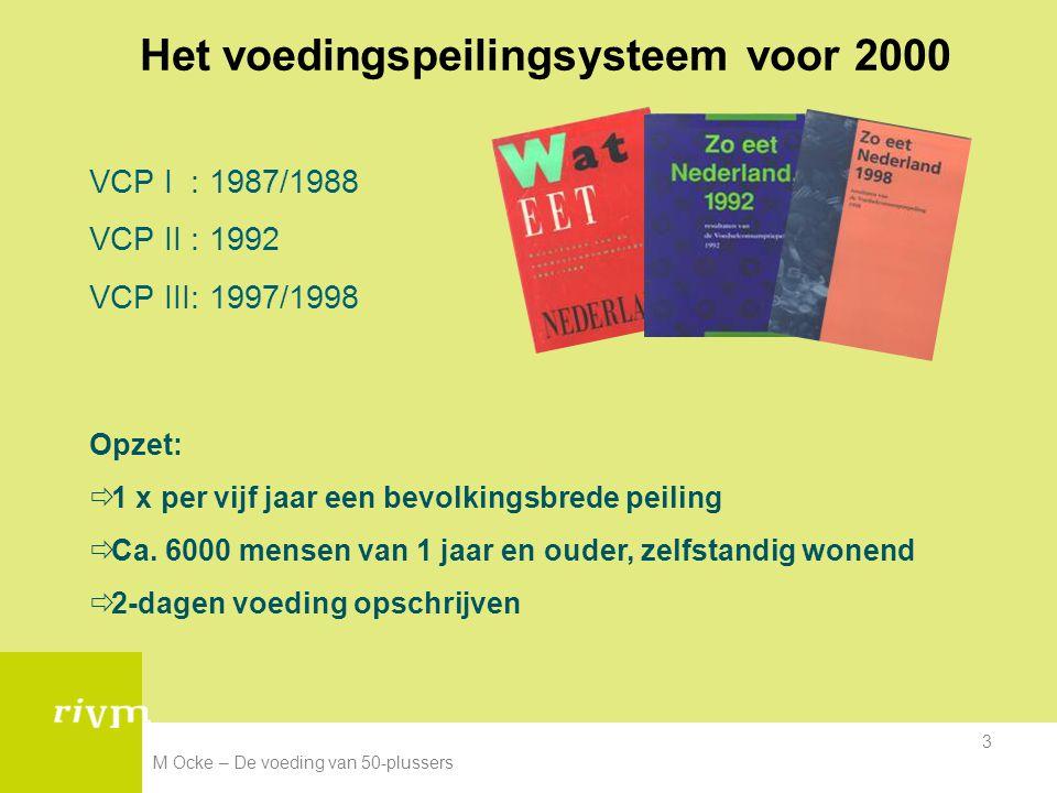 M Ocke – De voeding van 50-plussers 3 Het voedingspeilingsysteem voor 2000 VCP I : 1987/1988 VCP II : 1992 VCP III: 1997/1998 Opzet:  1 x per vijf ja