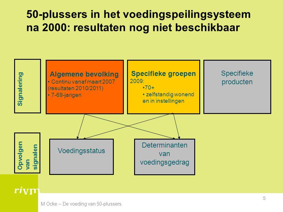 M Ocke – De voeding van 50-plussers 5 50-plussers in het voedingspeilingsysteem na 2000: resultaten nog niet beschikbaar Opvolgen van signalen Specifi