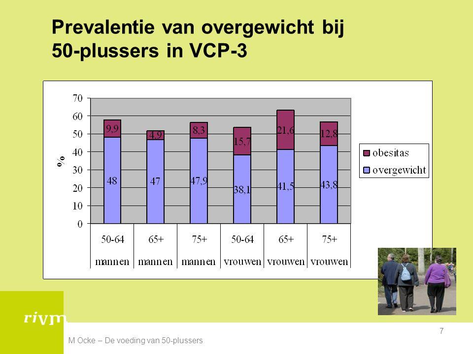 M Ocke – De voeding van 50-plussers 7 Prevalentie van overgewicht bij 50-plussers in VCP-3