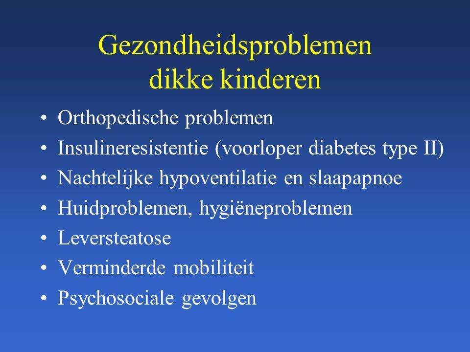 Gezondheidsproblemen dikke kinderen Orthopedische problemen Insulineresistentie (voorloper diabetes type II) Nachtelijke hypoventilatie en slaapapnoe