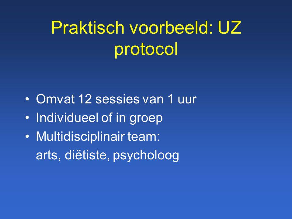 Praktisch voorbeeld: UZ protocol Omvat 12 sessies van 1 uur Individueel of in groep Multidisciplinair team: arts, diëtiste, psycholoog