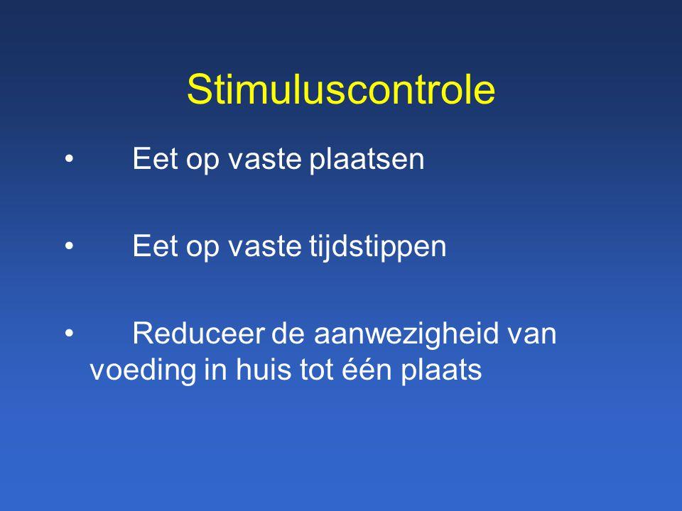 Stimuluscontrole Eet op vaste plaatsen Eet op vaste tijdstippen Reduceer de aanwezigheid van voeding in huis tot één plaats