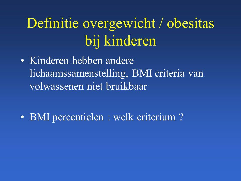 Definitie overgewicht / obesitas bij kinderen Kinderen hebben andere lichaamssamenstelling, BMI criteria van volwassenen niet bruikbaar BMI percentiel