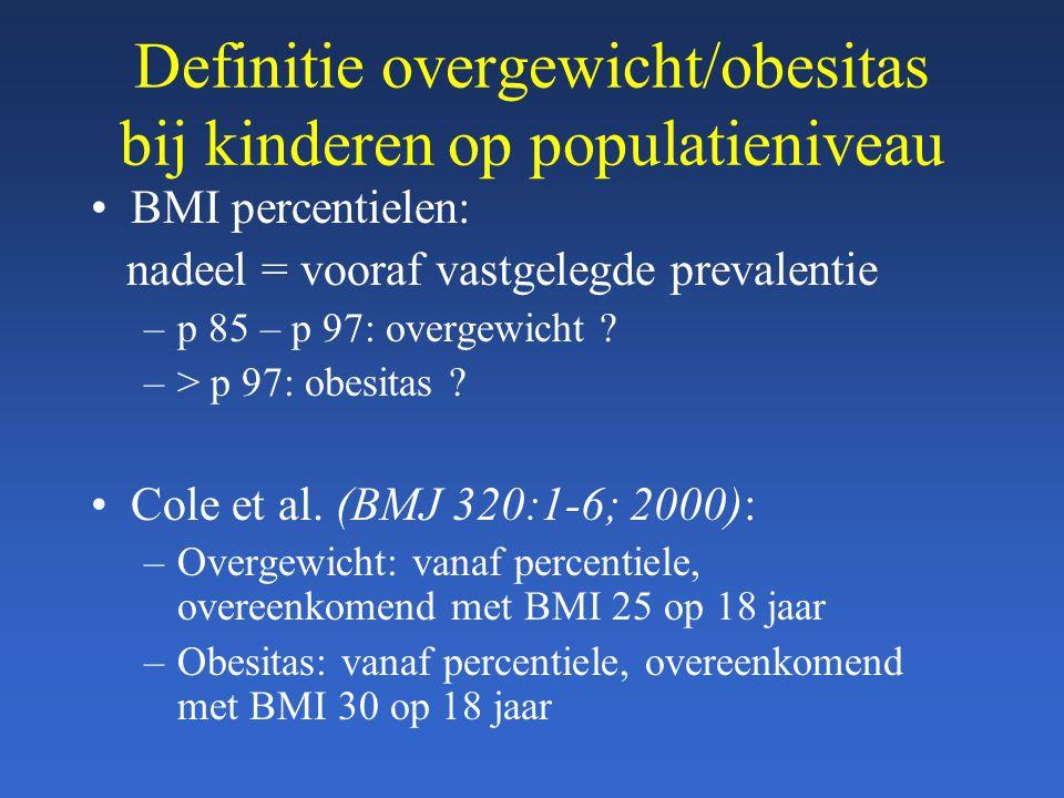 Definitie overgewicht/obesitas bij kinderen op populatieniveau BMI percentielen: nadeel = vooraf vastgelegde prevalentie –p 85 – p 97: overgewicht ? –