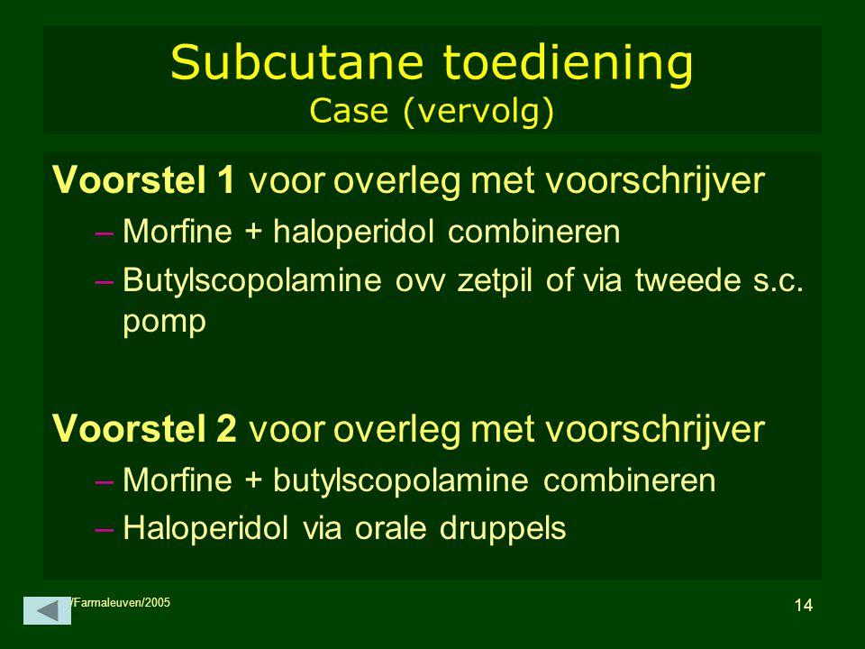 MH/Farmaleuven/2005 14 Subcutane toediening Case (vervolg) Voorstel 1 voor overleg met voorschrijver –Morfine + haloperidol combineren –Butylscopolami
