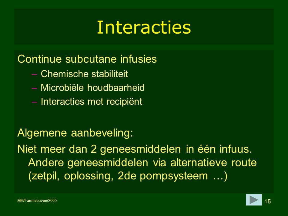 MH/Farmaleuven/2005 15 Interacties Continue subcutane infusies –Chemische stabiliteit –Microbiële houdbaarheid –Interacties met recipiënt Algemene aan