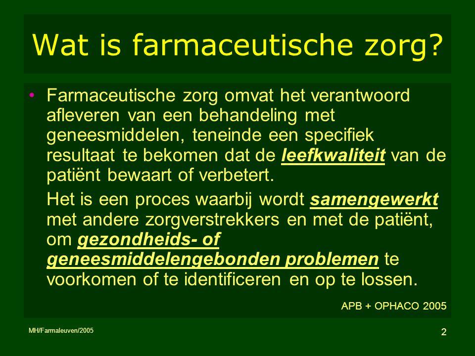 MH/Farmaleuven/2005 2 Wat is farmaceutische zorg? Farmaceutische zorg omvat het verantwoord afleveren van een behandeling met geneesmiddelen, teneinde