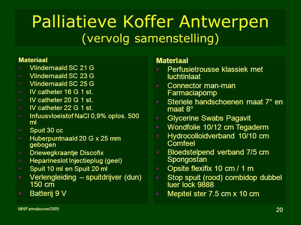 MH/Farmaleuven/2005 20 Palliatieve Koffer Antwerpen (vervolg samenstelling) Materiaal Vlindernaald SC 21 G Vlindernaald SC 23 G Vlindernaald SC 25 G I