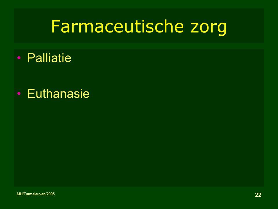 MH/Farmaleuven/2005 22 Farmaceutische zorg Palliatie Euthanasie