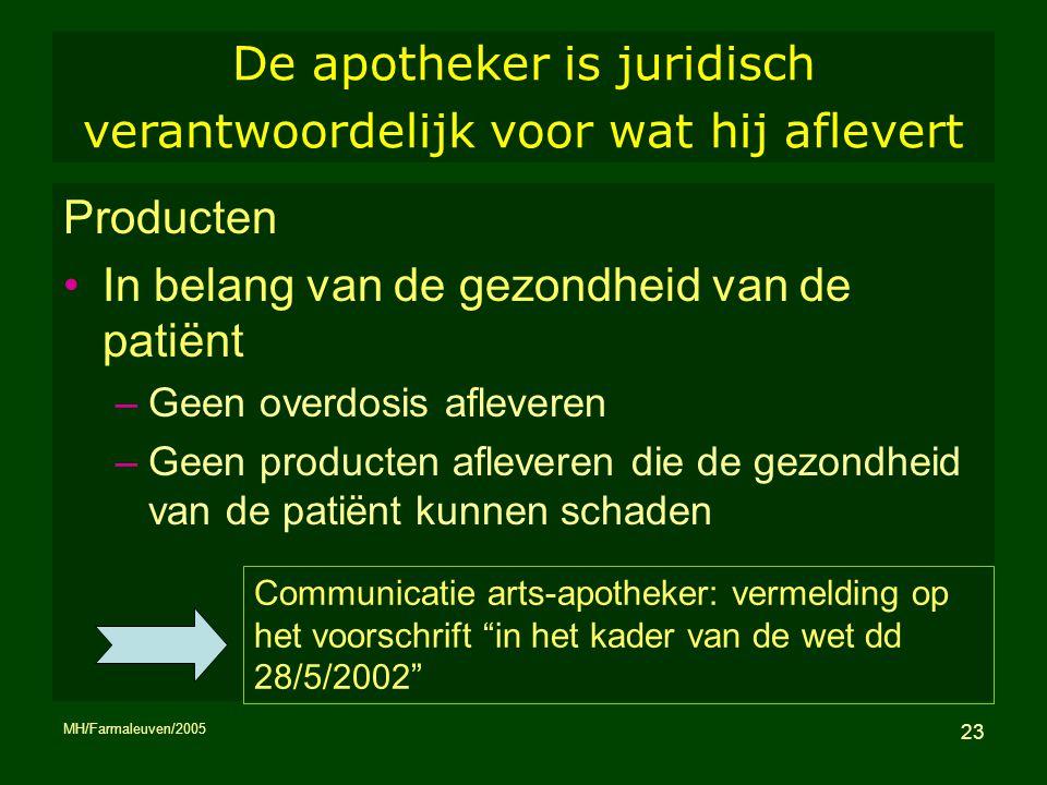 MH/Farmaleuven/2005 23 De apotheker is juridisch verantwoordelijk voor wat hij aflevert Producten In belang van de gezondheid van de patiënt –Geen ove