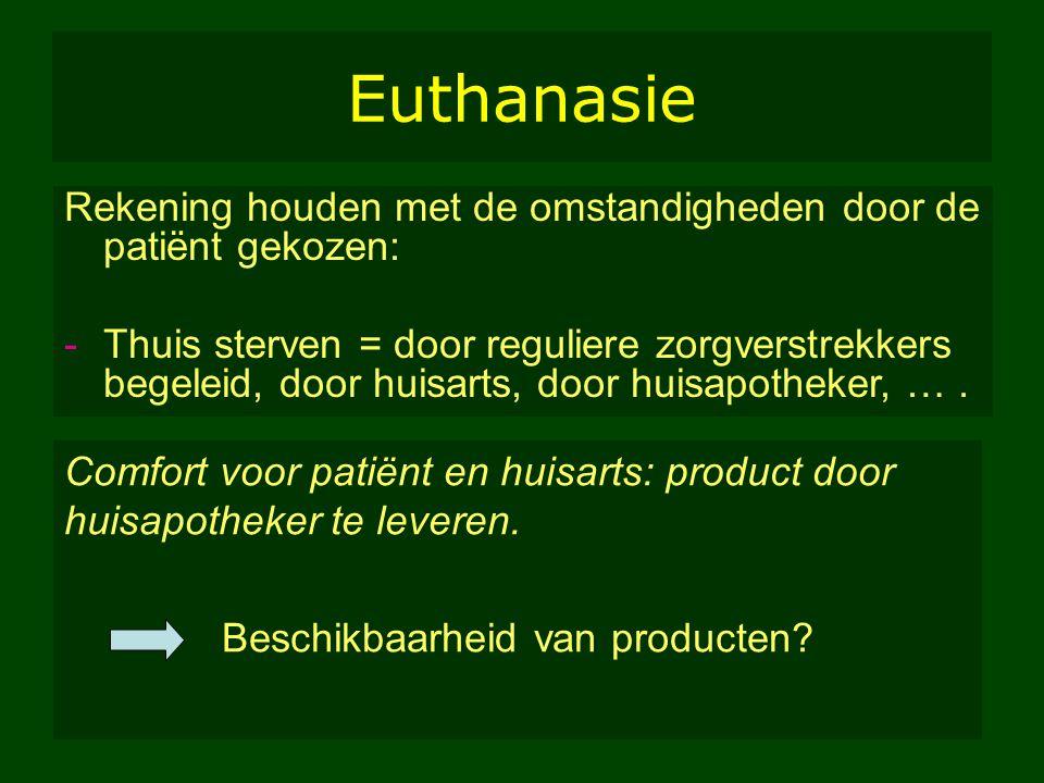 MH/Farmaleuven/2005 25 Euthanasie Rekening houden met de omstandigheden door de patiënt gekozen: -Thuis sterven = door reguliere zorgverstrekkers bege