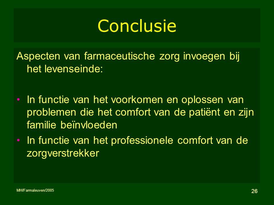 MH/Farmaleuven/2005 26 Conclusie Aspecten van farmaceutische zorg invoegen bij het levenseinde: In functie van het voorkomen en oplossen van problemen