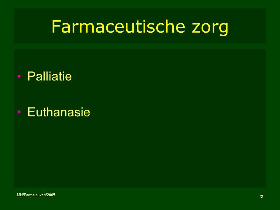 MH/Farmaleuven/2005 5 Farmaceutische zorg Palliatie Euthanasie