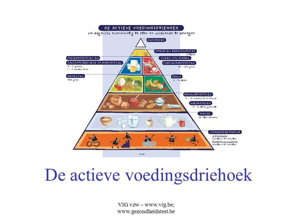 VIG vzw – www.vig.be; www.gezondheidstest.be De actieve voedingsdriehoek