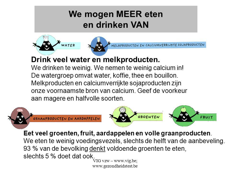 VIG vzw – www.vig.be; www.gezondheidstest.be Eet veel groenten, fruit, aardappelen en volle graanproducten. We eten te weinig voedingsvezels, slechts