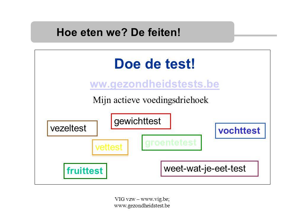 VIG vzw – www.vig.be; www.gezondheidstest.be Doe de test! ww.gezondheidstests.be Hoe eten we? De feiten! vezeltest fruittest groentetest gewichttest v