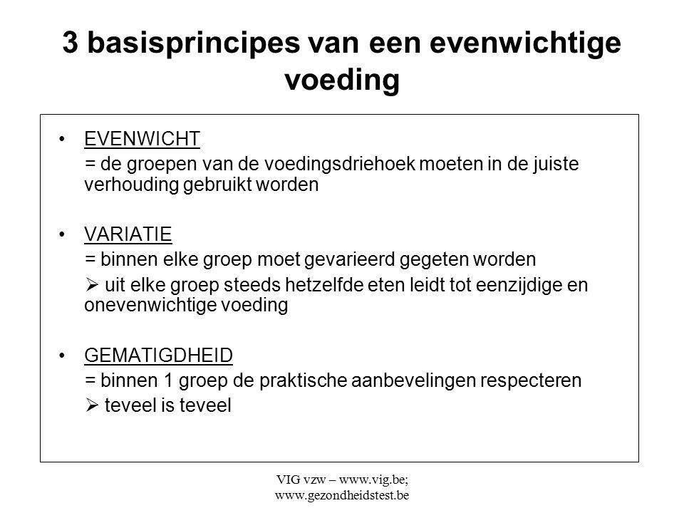 VIG vzw – www.vig.be; www.gezondheidstest.be 3 basisprincipes van een evenwichtige voeding EVENWICHT = de groepen van de voedingsdriehoek moeten in de