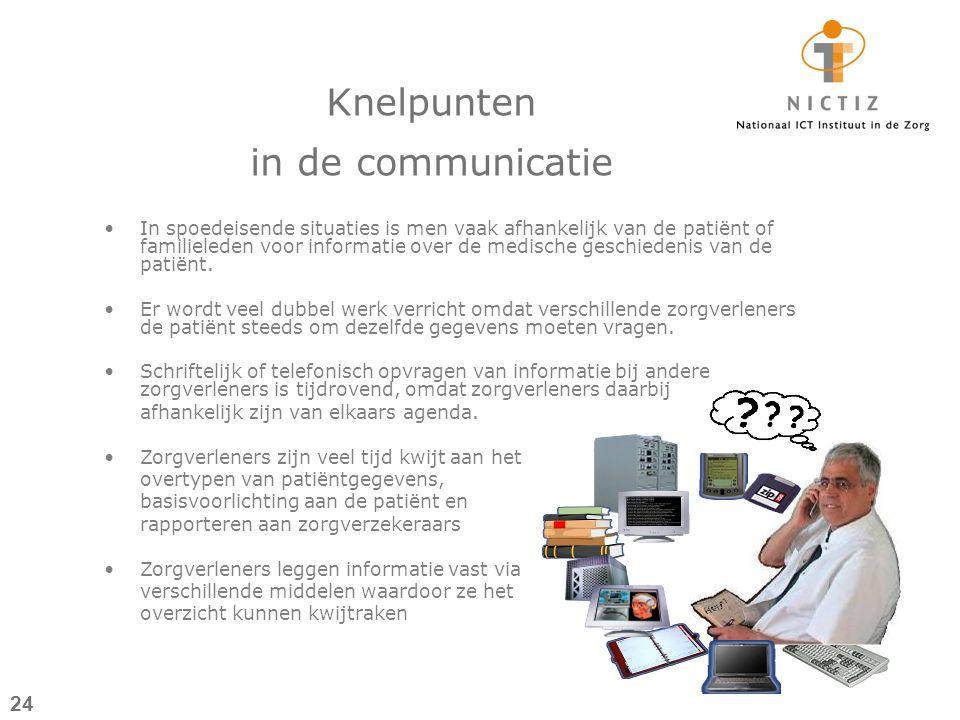 Knelpunten in de communicatie In spoedeisende situaties is men vaak afhankelijk van de patiënt of familieleden voor informatie over de medische geschiedenis van de patiënt.