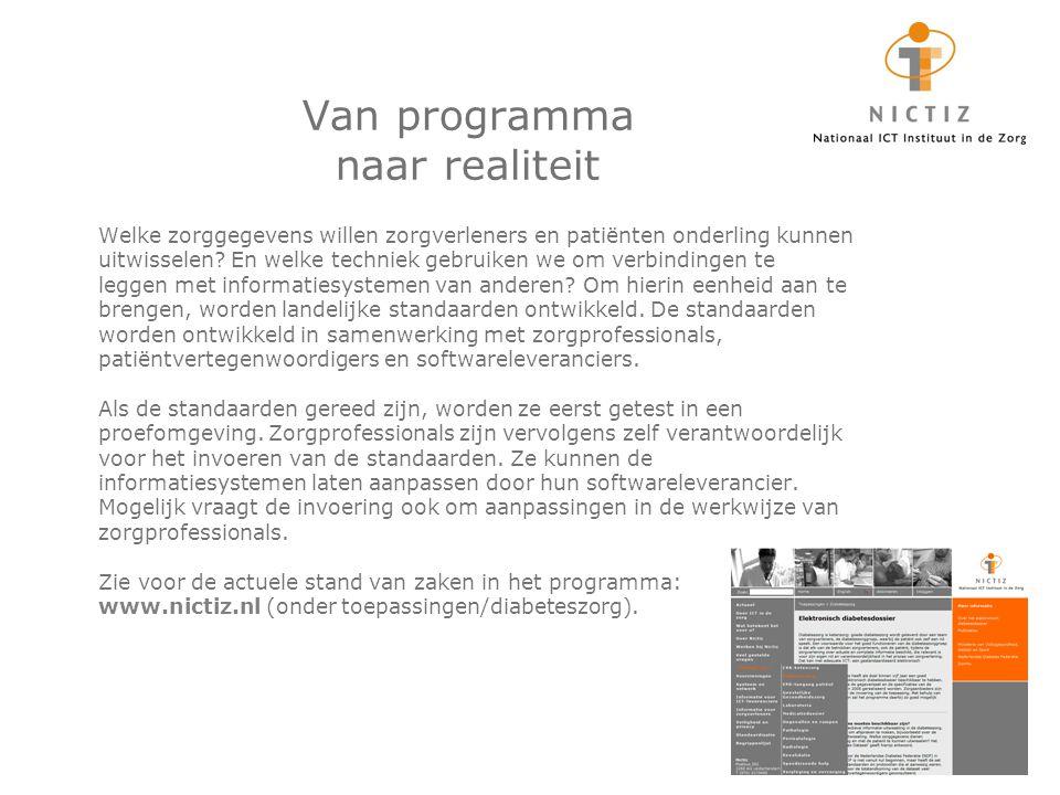Van programma naar realiteit Welke zorggegevens willen zorgverleners en patiënten onderling kunnen uitwisselen.
